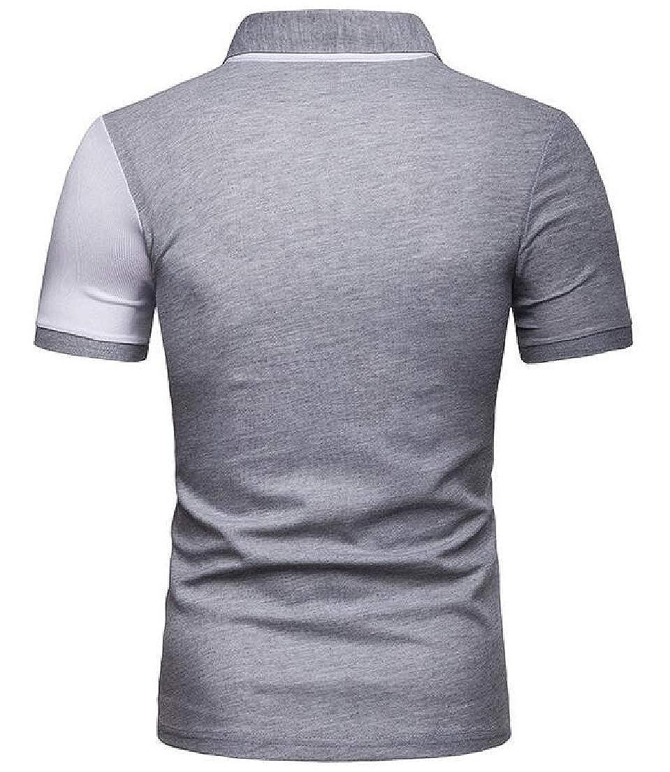 CRYYU Men Short Sleeve Colorblock T-Shirt Patchwork Leisure Polo Shirt