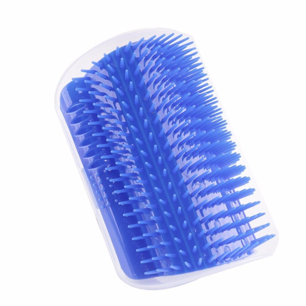Efanr Cat Self Groomer and Massager Pet Hair Comb Shedding Removal Brush Trimming Tool Pet Toy with Catnip Comfortable Corner Perfect Tool for Cats with Long & Short Fur (Blue)