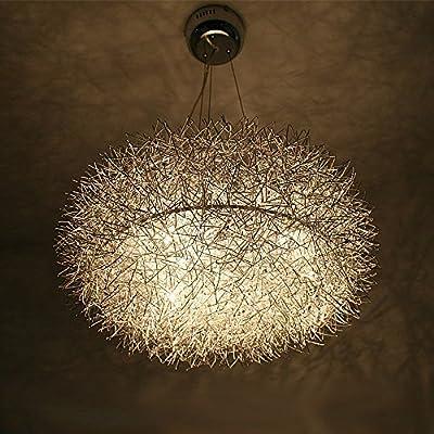 "Modern 20"" Aluminum Wire Oval Nest Dining Room Ceiling Pendant Pendant Light Eight Glass Eggs Living room Chandeliers Restaurant Pendant Lighting Fixtures"