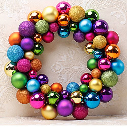 Amyove Christmas Colorful Balls Wreath Door Wall Ornament Creative Garland Home Wedding Decoration
