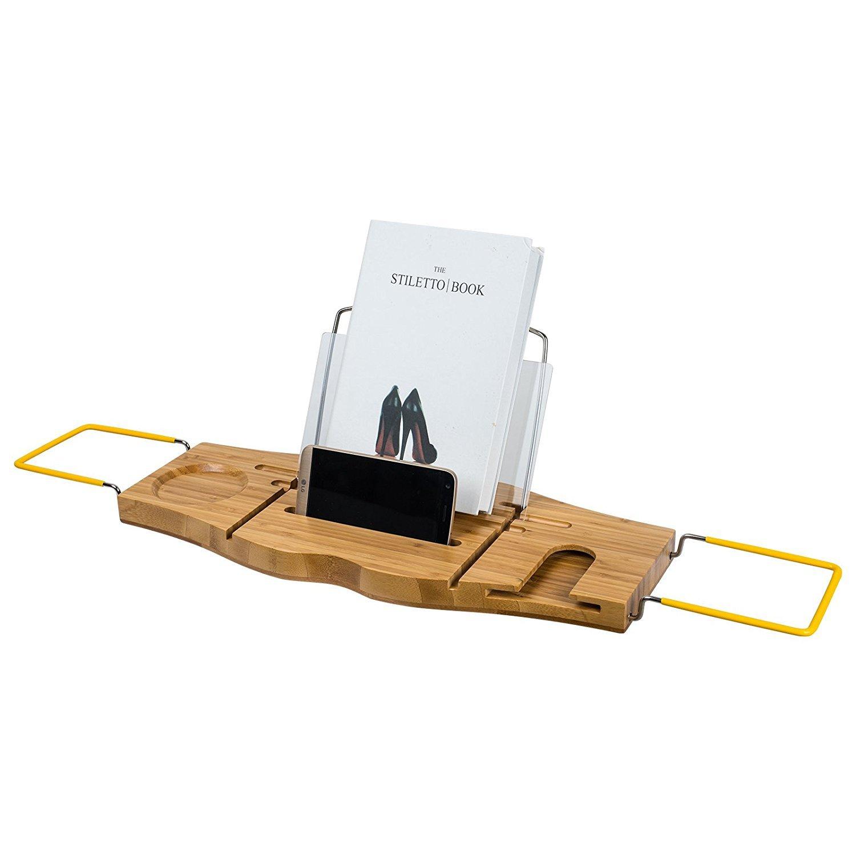 Bathtub Caddy Rack Bath Trays Bamboo Extendable with Book iPad Pro Wine Holder for Bathroom Storage