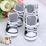 Black and White Check Pet Dog Boots Shoes Sneakers Shoe Size (L x W): Approx. 1.6 x 1.3 inch (4 x 3.3 cm), My Pet Supplies