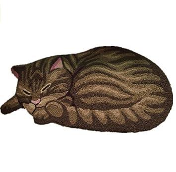 Cute Sleeping Cat Shaped Bedroom Anti Slip Area Rug Floor Mats,Tabby Cat Art
