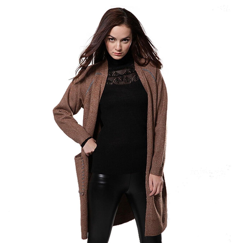 Women's petite contrast color long thicken cardigan sweater coat light grey