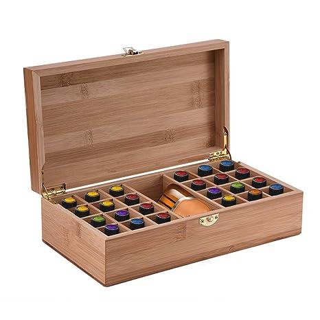 Caja de Bambú de Almacenamiento de Aceite Esencial de 25 Ranuras ...