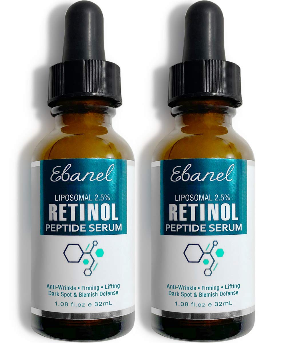 Ebanel Retinol Serum 2.5% with Hyaluronic Acid & Peptides - Anti Aging Serum Anti Wrinkle Eye Serum with Aloe, Witch Hazel, Vitamin C & E, Wrinkle Repair Night Serum Collagen Peptides Serum, 2-Pack