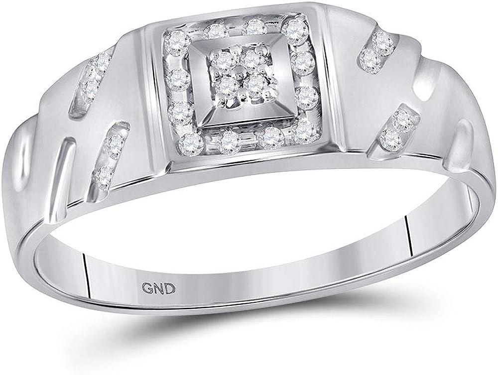 10kt White Gold Mens Round Diamond Square Cluster Ring 1//8 Cttw