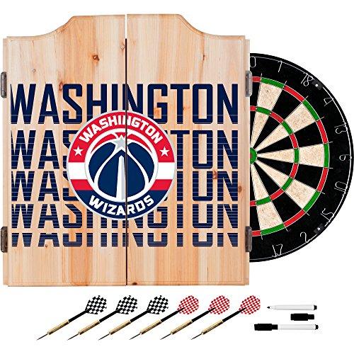 Trademark Gameroom NBA7010-WW3 NBA Dart Cabinet Set with Darts & Board - City - Washington Wizards by Trademark Global