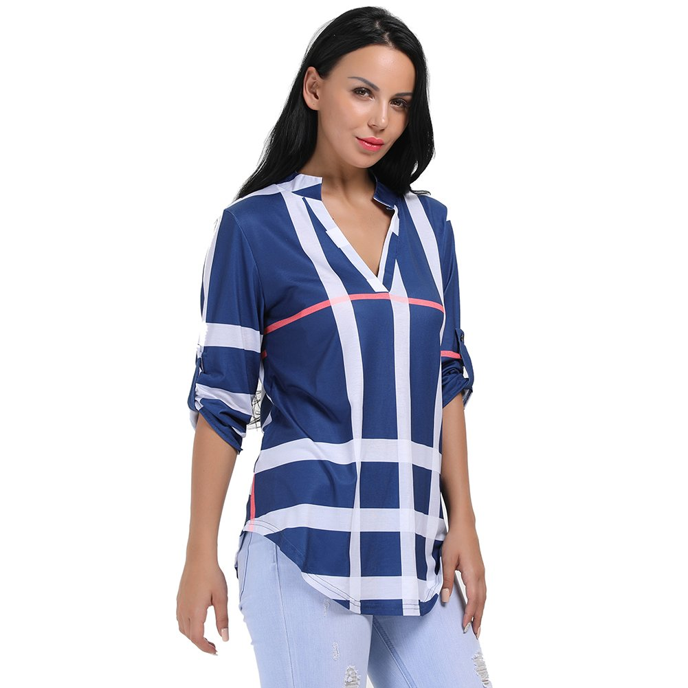 bluee Stripes other Womens VNeck Formal, Casual, Office Blouse, Shirt