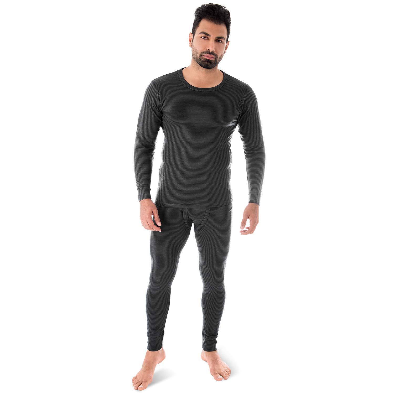 Black Snake Thermounterwäsche | Herren Thermo Unterwäsche Set | langarm Unterhemd + lange Unterhose | Ringelmuster 500476
