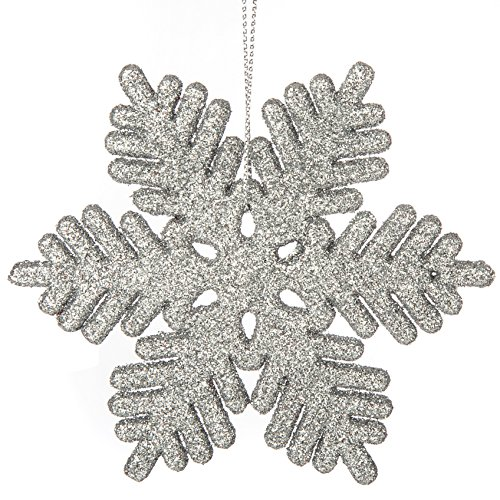 iPEGTOP 24 pcs Plastic Shinny Glitter Christmas Snowflake Ornaments Set for Craft DIY Party Home Holiday Decoration, 4 inch, Silver]()