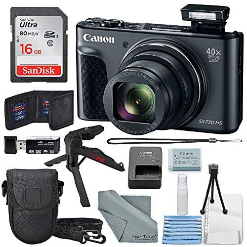 Canon PowerShot SX730 HS Digital Camera (Black) W/Basic Bundle, 16GB, Xpix Tabletop Tripod +FiberTique Cloth
