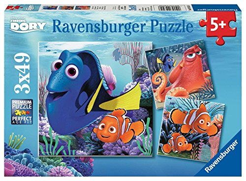 Ravensburger Disney Finding Dory Set of 3 49 Piece Jigsaw Puzzles for Kids - Every Piece is Unique, Pieces Fit Together -