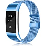 Erencook Bands Compatible with Fitbit Charge 2 Band, Adjustable Stainless Steel Magnetic Lock Replacement Wristband for…