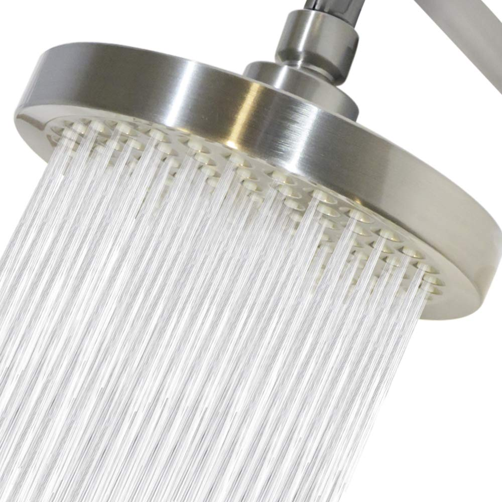 Rainfall Shower heads Brushed Nickel-6 inch-Removable restrictor//Sand Filter for Luxurious spa Massage High Pressure Shower Head by CircleSplash Tool Free Installation with Teflon Tape