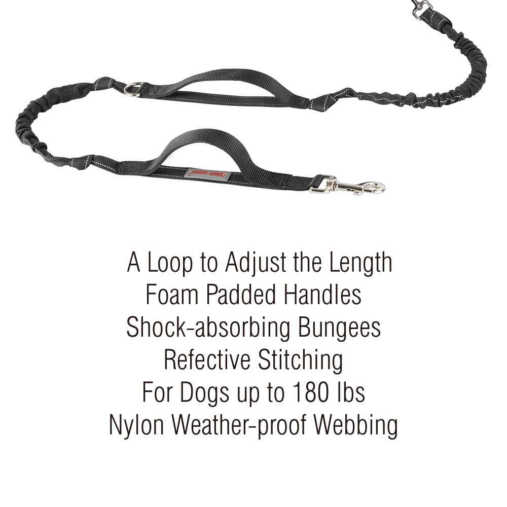 Hands Free Dog Leash, Dog Walking and Training Belt with Shock Absorbing Bungee Leash for up to 180lbs Large Dogs, Phone Pocket and Water Bottle Holder, Fits All Waist Sizes From 28'' to 48'' by FURRY BUDDY (Image #5)