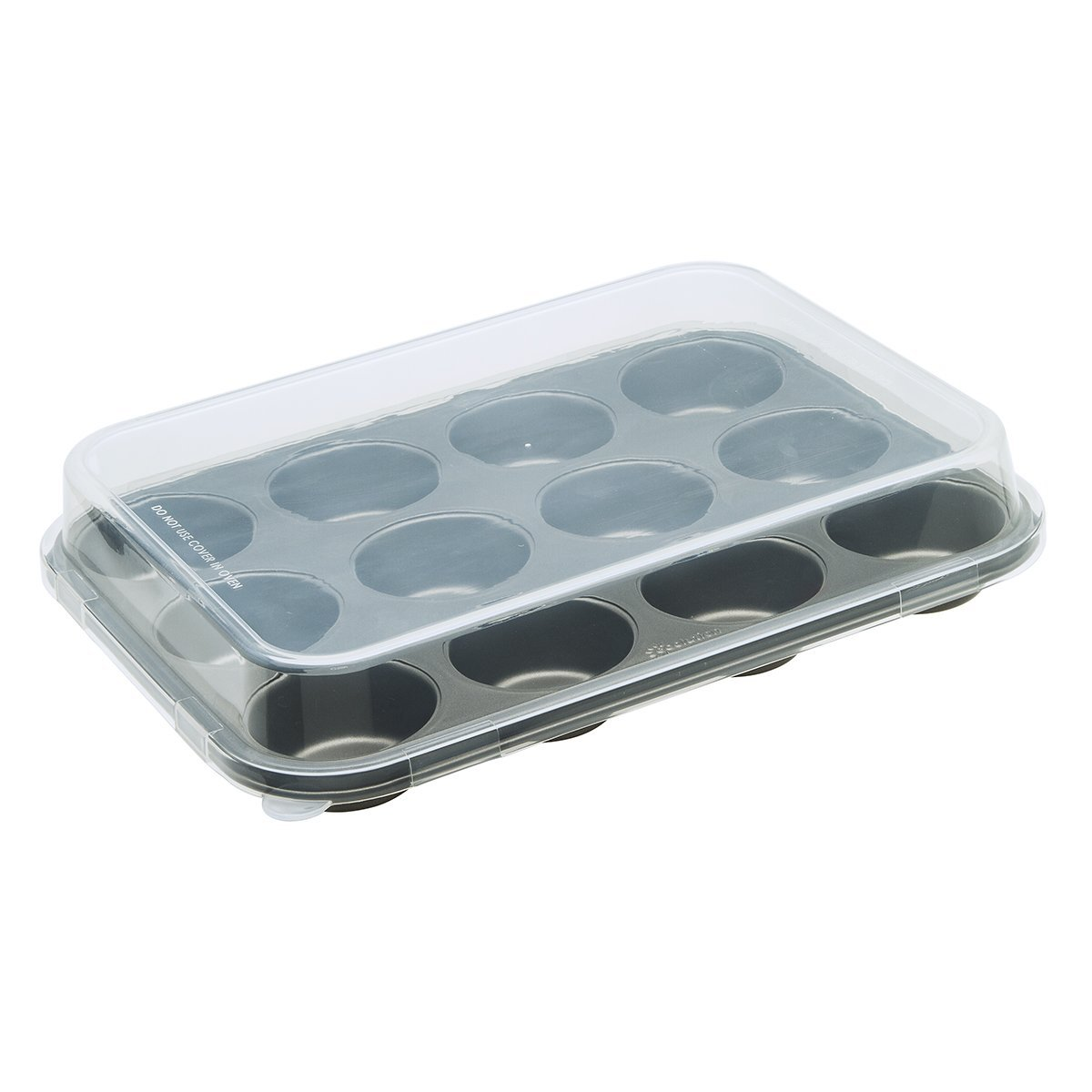 "Ecolution Bakeins 12 Cup Muffin and Cupcake Pan with Lid – PFOA, BPA, and PTFE Free Non-Stick Coating – Heavy Duty Carbon Steel – Dishwasher Safe – Gray – 13.75"" x 10.5"" x 1.125"" (Without Lid)"