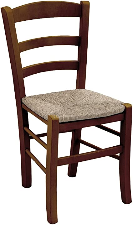 Sedia in legno massello colore noce seduta in paglia ristorante casa PAESANA