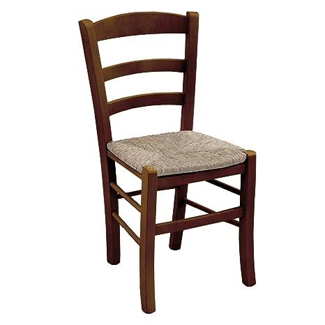 Sedia in legno massello colore noce seduta in paglia ristorante casa ...