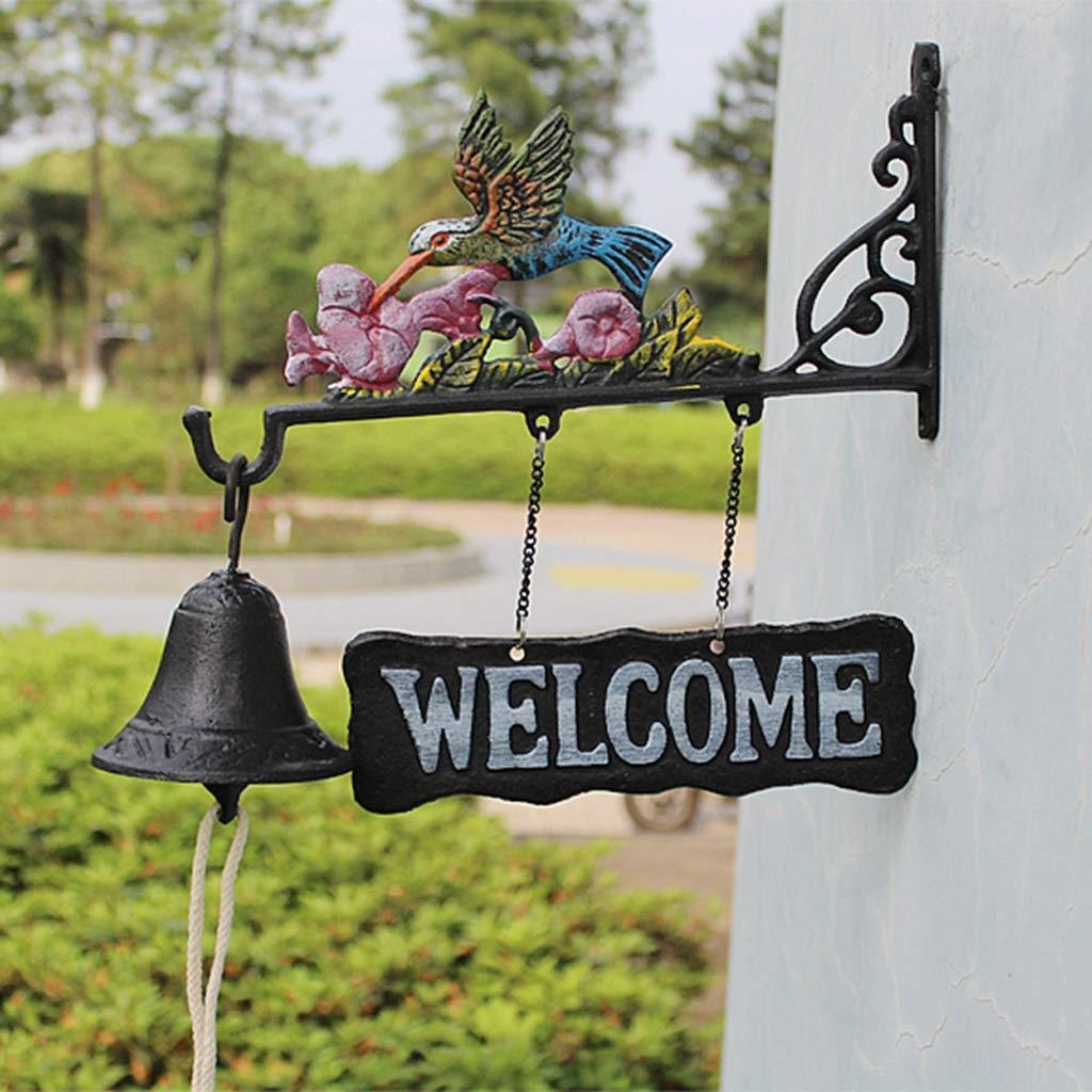 LBYMYB Wrought Iron Doorbell Country Retro Cast Iron Wrought Iron Hand Bell Door Welcome Clock Wall Bird Decoration Pendant 31x9.7x28cm doorbell