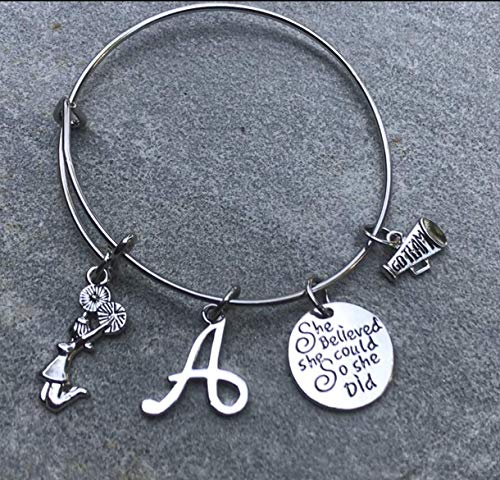 Custom Cheer Megaphones (Personalized Cheer Charm Bangle Bracelet- Custom She Believed She Could So She Did Cheer Jewelry For Cheerleader, Cheer Mom or Cheering)