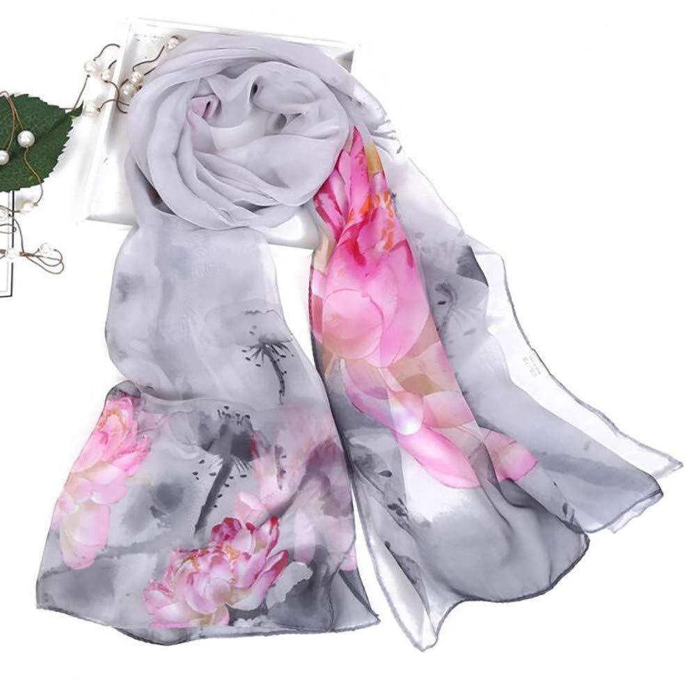 Fashion Women Lotus Print Shawl Scarves, LIULIULIU Ladies Fantasy Long Soft Wrap-160x50 cm by LIULIULIU-Women Shawl (Image #2)