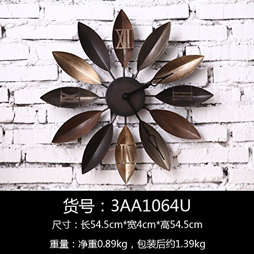 - Silent Wall Clock dustproof Glass Cover Retro Old Wrought Iron Clock Wall Hanging Creative Home Porch Clock Pendant Shop Tea Shop Wall Clock, intuitive Digital Display