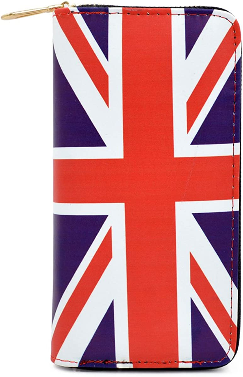 Premium World Country Flag City Print PU Leather Zip Around Wallet
