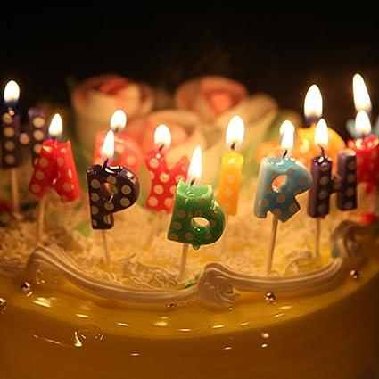 Sundlight Happy Birthday Candles Smokeless Cute Cartoon Letter Cake