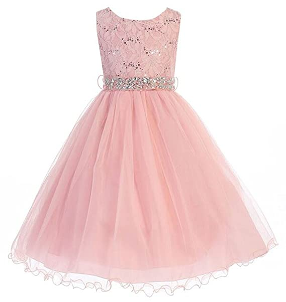 8e1e0275956 Amazon.com  iGirldress Little Girls  Sequin Lace with Tulle Flower Girl  Dress 2-20  Clothing