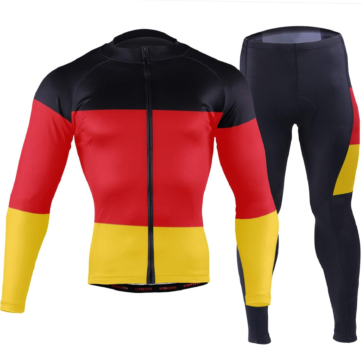 CHINEIN Men's Cycling Jersey Long Sleeve with 3 Rear Pockets Suit German Flag by CHINEIN