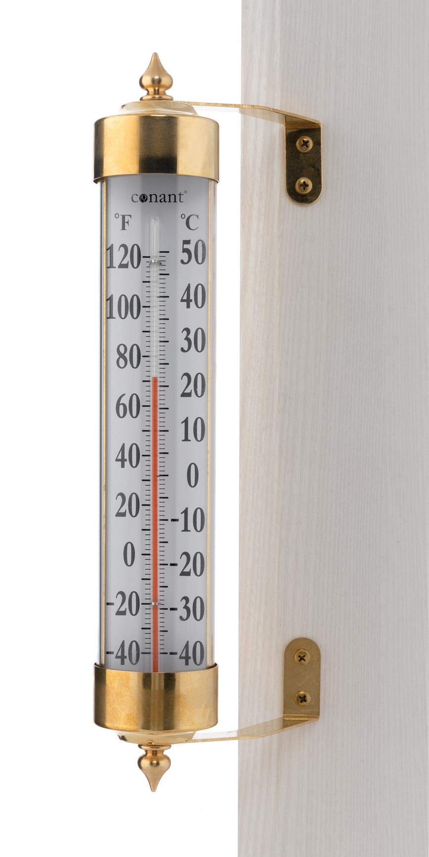 Conant T16LFB Vermont Grande View Thermometer, Living Finish Brass