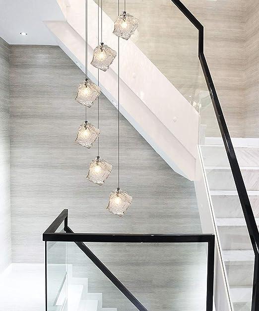 Moderna escalera larga de la lámpara minimalista de múltiples luces lujo luz pendiente creativo del arte nórdico Estilo Salto Sala de la lámpara del bloque de cristal de sombra Duplex Rotatorio Villa: