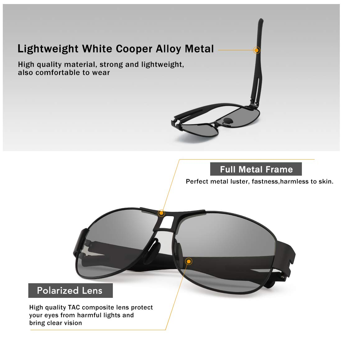 WOWSUN Classic Aviator Military Polarized Driving Sunglasses For Men | Ultralight Alloy Frame with 100% UV400 Protection (Black Lens Black Metal Frame)