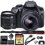 Canon 1300D (Rebel T6) DSLR Camera 18-55mm Lens 64GB Memory Card Starter Package International Model