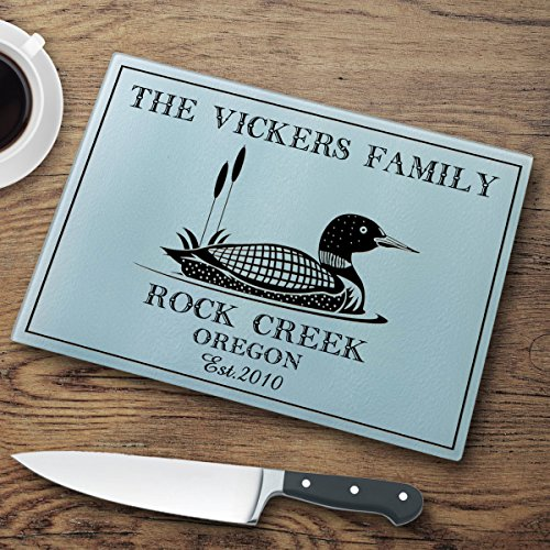 Personalized Cabin Series Glass Cutting Board - Loon