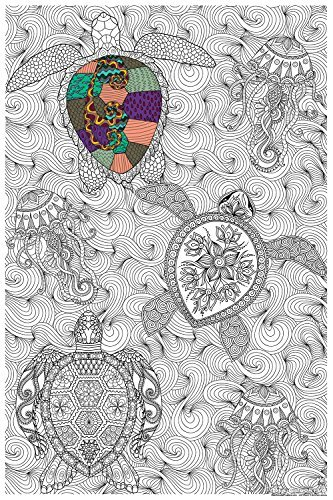 Bee colorful Original Big coloring Poster (24''x 36'') Sea Turtles by Bee colorful