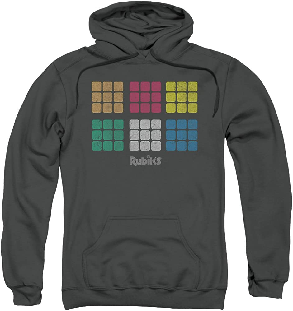 Rubiks Cube Minimal Squares Unisex Adult Pull-Over Hoodie for Men and Women 61D9YxtrgxL