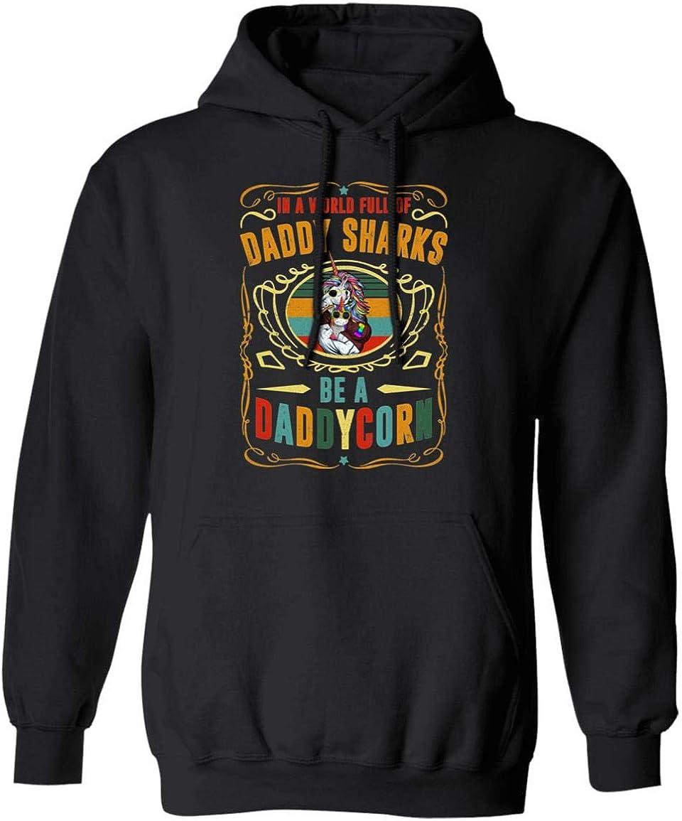 in A World Full of Daddy Sharks Be A Daddycorn Hoodie Sweatshirt- Dadacorn Unicorn Dad and Son Daughter Shirt