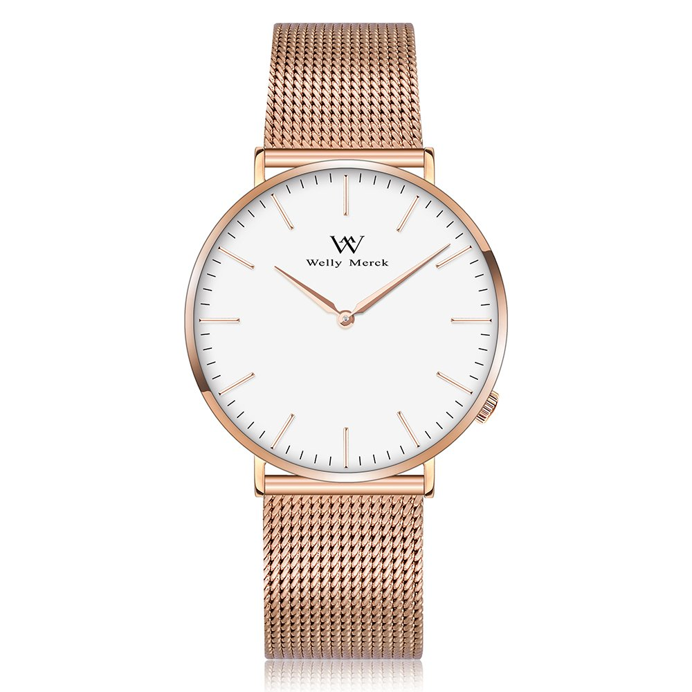 Welly Merck Swiss Movement Sapphire Crystal Women Luxury Watch Minimalist Ultra Thin Slim Analog Wrist Watch 18mm Rose Gold Stainless Steel Mesh Band in White 36mm 164ft Water Resistant