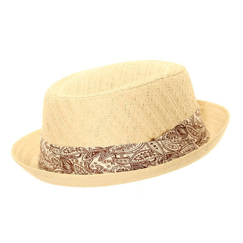 Express Hats Unisex Straw Pork Pie Trilby Hat with Coloured Paisley Band