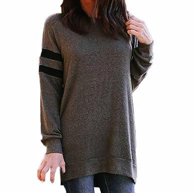Longra Langarm T-Shirt Damen Blusen Rundhals Ausschnitt Lose Hemdblusen  Pullover Oversize Sweatshirt Damen Oberteil 2f31ccfbc5