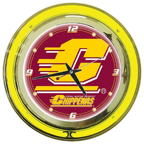 NCAA Central Michigan University Chrome Double Ring Neon Clock, 14