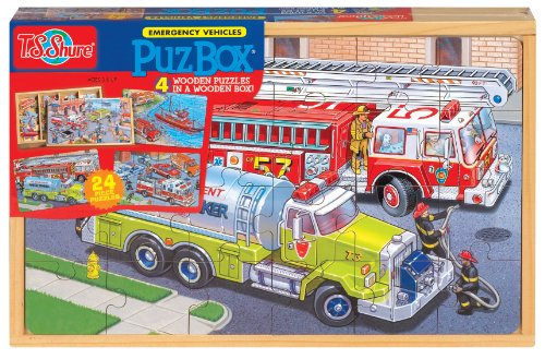 - T.S Shure Emergency Vehicles 4 Large Puzzles in a Wooden Box