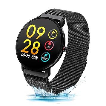 Duang Reloj Inteligente, Ritmo Cardíaco con Monitor de Actividad Impermeable IP68 / Podómetro Esfigmomanómetro, Monitor de Sueño para Hombres y ...