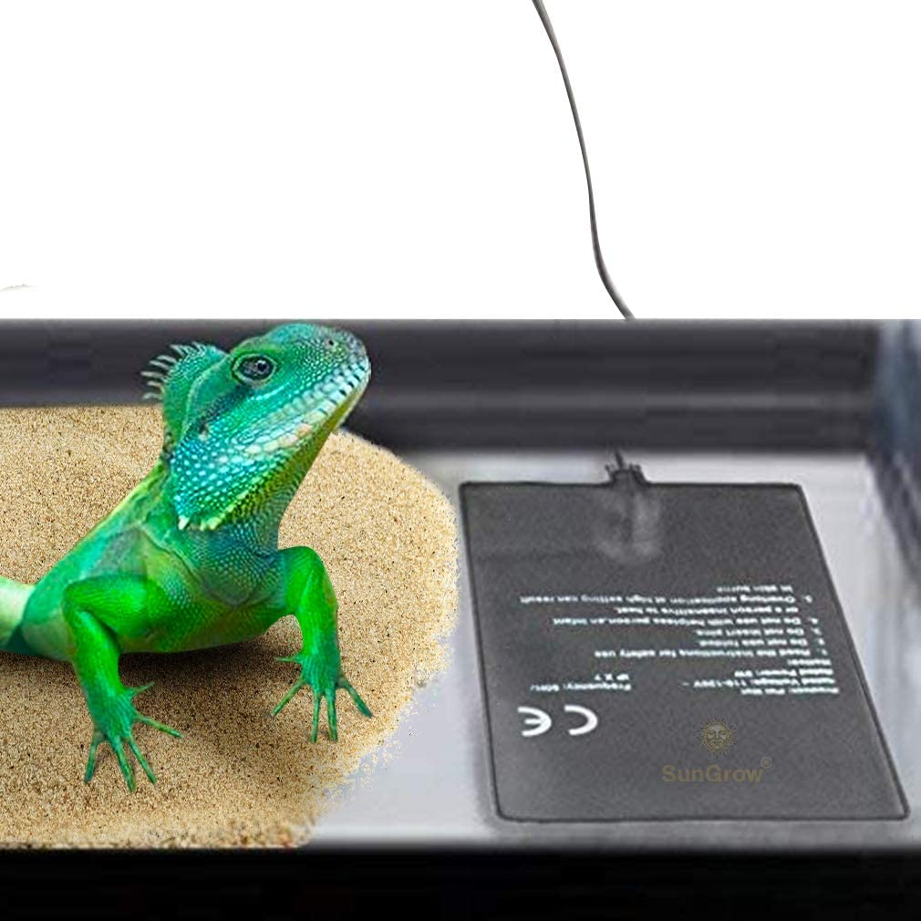 SunGrow Reptile Tank Heater Pad, Maintains Optimal Heat Level in Pet's Habitat, Keeps Cold-Blooded Pets Healthy, Alternative Heat Source for Colder Regions, 24-Hour Under Tank Terrarium Heating Mat