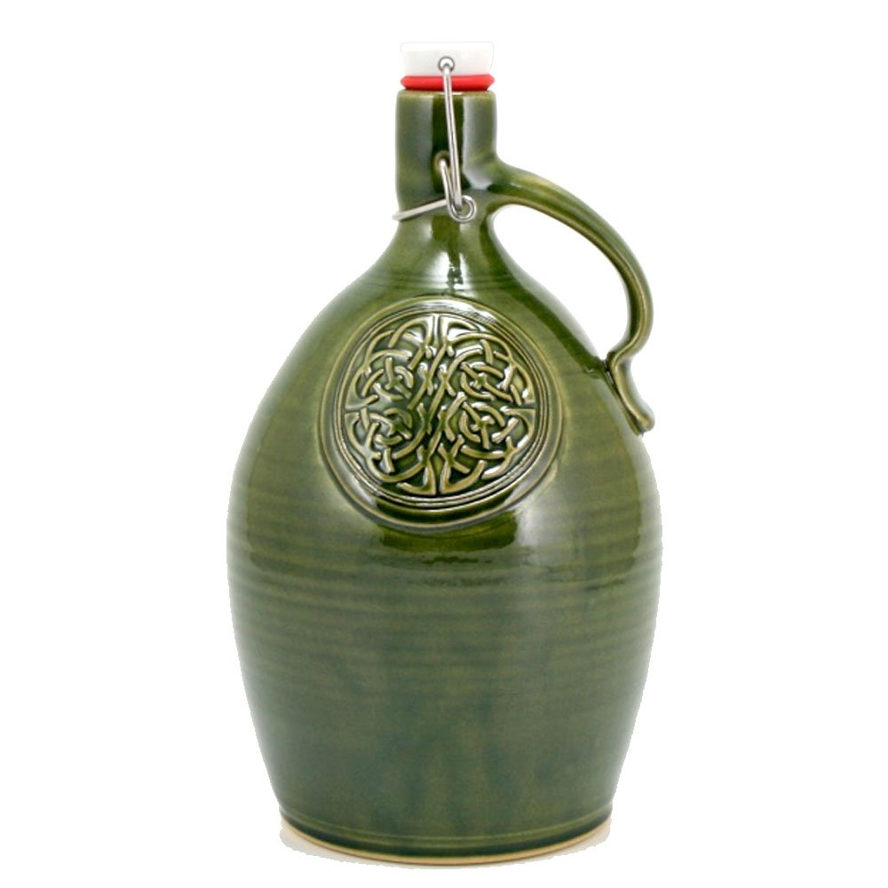64oz Mellon Growler with Celtic Knot emblem and Emerald Green Glaze