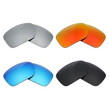MRY 4 pares polarizadas lentes de repuesto para Oakley Turbine sunglasses-stealth negro/fuego