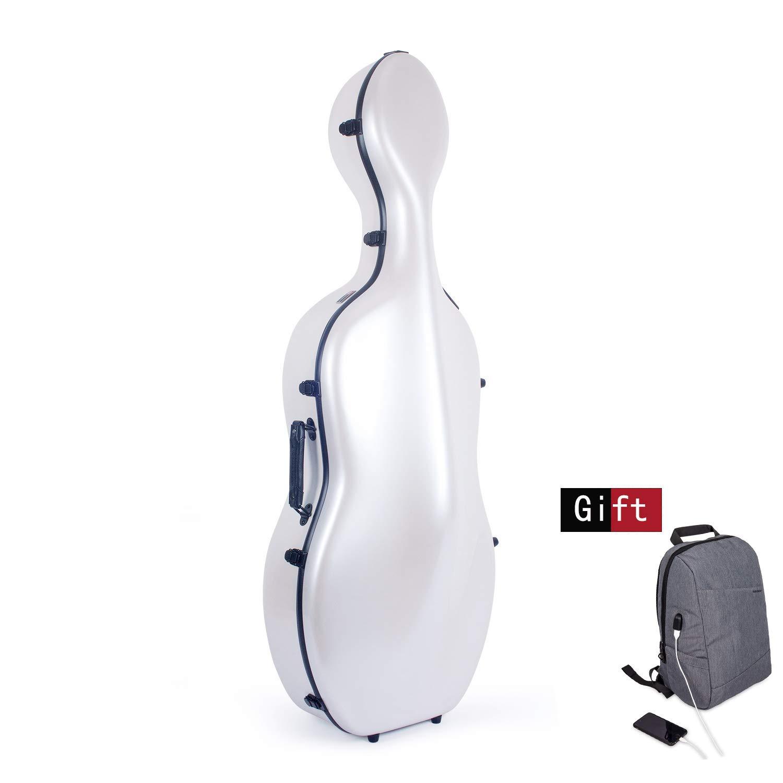 Crossrock Fiberglass Cello 4/4 Full Size Hardshell Case with Wheels in Black (CRF1000CEFBK)