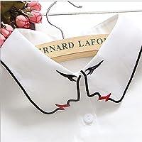 JIFNCR Femmes Blanc Couleur Pure Visage Demi Chemise Revers Ras du Cou Collier Chemise Faux Faux Col